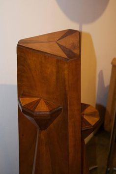 Czech Cubist Rare Pedestal   From a unique collection of antique and modern pedestals and columns at https://www.1stdibs.com/furniture/building-garden/pedestals-columns/