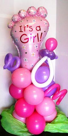 It's A Girl Footprint balloon column, about 5.5ft tall