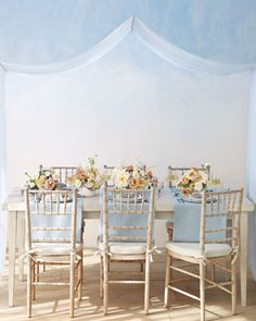 Pretty Pairing: A Powder Blue and Nude Color Palette Gorgeous powder-blue and nude tablescape<br> Get decoration ideas for using blue and nude in your wedding color palette. Backyard Canopy, Garden Canopy, Canopy Outdoor, Canopy Tent, Fabric Canopy, Ikea Canopy, Hotel Canopy, Window Canopy, Beach Canopy