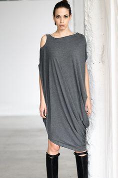 Gray Drape Dress/ Loose Casual Tunic/ Drape Top/ от AryaSense