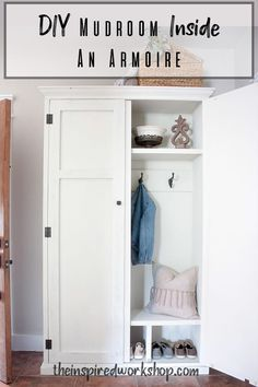 DIY Mudroom in an Armoire – The Inspired Workshop Entryway Furniture, Living Room Furniture, Diy Furniture, Living Room Decor, Armoire Makeover, Style Lounge, Entryway Organization, Cool Chairs, Creative Home