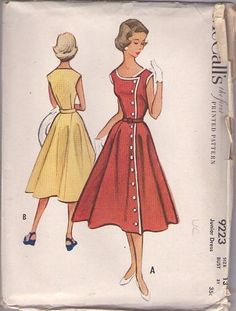 MOMSPatterns Vintage Sewing Patterns - McCall's 9223 Vintage 50's Sewing Pattern DELIGHTFUL Rockabilly VLV Front Wrapped Coat Dress, Sleevel...