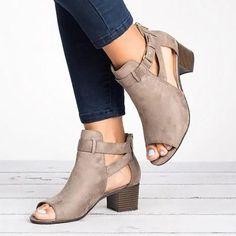online store 96b69 2964d Women Leather Pumps Booties Casual Zipper Shoes Low Heel Sandals, Summer  Heels, Latest Shoes