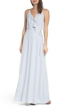 Jamie Ruffle Wrap Gown, Main, color, Ocean Mist