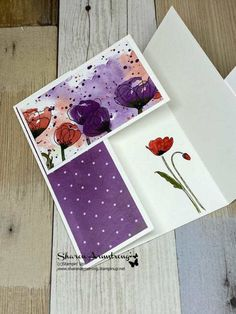 Card Making Tutorials, Card Making Techniques, Making Ideas, Making Cards, Card Making Inspiration, Fancy Fold Cards, Folded Cards, Poppy Cards, Double Gate