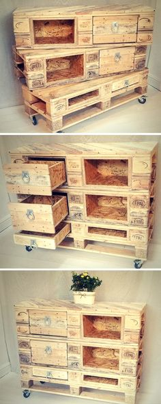 Shed Plans - DIY Pallet Chest with Drawers / Pallet made Dresser / Sideboard / Pallet Console Table - Now You Can Build ANY Shed In A Weekend Even If You've Zero Woodworking Experience!