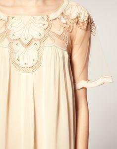 ASOS Swing Dress w/ Mesh & Trim Detail