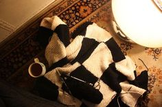 Checkered knit blanket