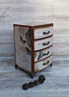 jewellery mini chest of drawers, vintage jewellery box, wooden jewellery box, butterfly box