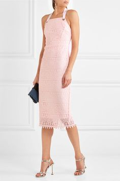 Rebecca Vallance - Testa Apron Guipure Lace Midi Dress - Pink - UK14