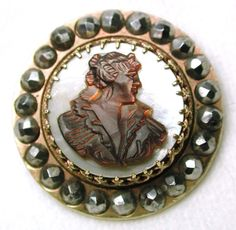 Antique Cameo Carved Iridescent Shell Button