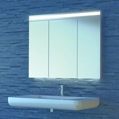 Eleganz im Bad Der Spiegelschrank Avance New LED gehört zu den Klassiker. Aufgrund der LED-Technik ist die Beleuchtung dimmbar und das verleiht dem Badezimmer eine besondere Note. Für eine elegante Raumausleuchtung sorgt zudem das indirekte Unterbodenlicht. Double Vanity, Bathroom Lighting, Note, Mirror, Diy, Home Decor, Closet Storage, Interior, Bathing