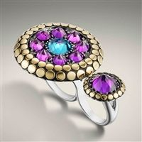John Hardy Dot Two Finger Ring with Amethyst and Swiss Blue Topaz Total Peacock-esque Ring