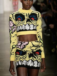 "*NEW AW14* JEREMY SCOTT MADBALLS KNIT MINI SKIRT & CROPPED SWEATER. 100% Merino Wool. Save 25% with code ""FALL1425"" at checkout through 8/31/14 - www.shopfatal.com"