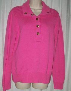 $20.99   Lauren Ralph Lauren 100% Cotton Pink Thick Collared Snaps Sweater L