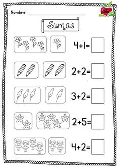 New Students: Getting An Education On College Kindergarten Math Worksheets, Preschool Learning Activities, School Worksheets, Preschool Math, Teaching Kids, Numbers Preschool, Math Addition, Simple Addition, New Students
