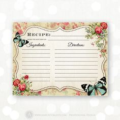 Printable Recipe Cards INSTANT DOWNLOAD - Vintage Flowers Retro DIY Kitchen Bridal Shower Recipes for Bride Cooking Cards Gift   Shabby Chic