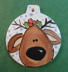 Christmas Ornament Reindeer Ornament Baby's by BrushStrokePlates Painted Christmas Ornaments, Baby Ornaments, Nativity Ornaments, Christmas Drawing, Christmas Paintings, Christmas Rock, Christmas Items, Rock Crafts, Holiday Crafts