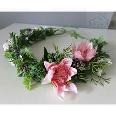 Wianek kwiatowy na głowę, różowy wianek ślubny
