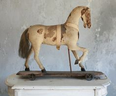 European antique horse pull toy, circa 1860.