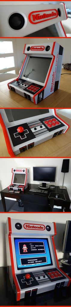 Custom Made NES Bartop Arcade Cabinet, super nostalgic retro Nintendo style via ArcadeControls forums user edekoning. Retro Videos, Retro Video Games, Retro Games, Bartop Arcade, Raspberry Pi Projects, Retro Arcade, Video X, Man Cave Bar, Arcade Machine