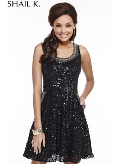 Shail K. 3649 Sequin Dress with Pockets
