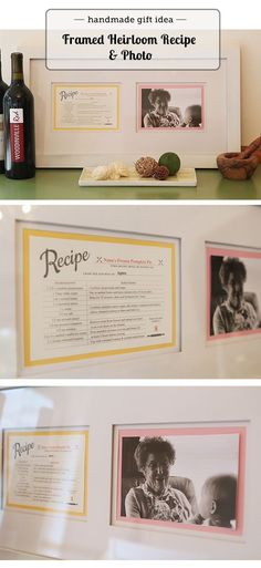 framed photo of grandma with her trademark recipe - post has link for editable recipe card...