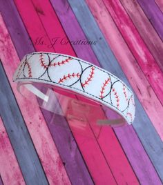 Baseball Felt Slider Headband - Girls Sports Summer White Red - READY TO SHIP by MsJCreations on Etsy