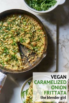 This vegan caramelized onion, leek & potato chickpea frittata from Ella Leché's Cut The Sugar cookbook is simple and delicious.