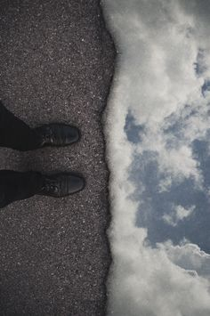 Composite. Natural split of worlds. Surreal horizon.