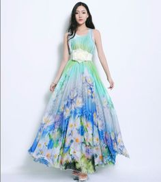 Green White Blue Floral Print A-line Dress Bohemian Casual Maxi Full Pleated Skirt Beach Wedding Bridesmaid Holiday Party Ball Gown  [ADHNote: Lightweight fabric belted can take a simple A shape with basic straps to pretty fitted dress.]