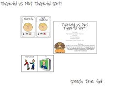 Speech Time Fun: Thankful vs. Not Thankful For Sort!! FREEBIE!!