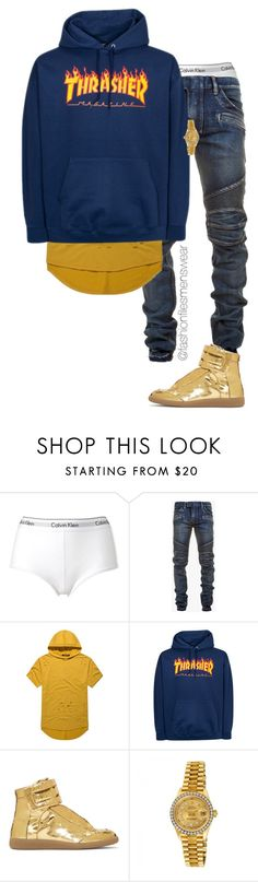 """""""Untitled #2675"""" by highfashionfiles ❤ liked on Polyvore featuring Calvin Klein, Balmain, Maison Margiela, Rolex, men's fashion and menswear"""