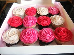 We're confident that the person who gets these rose crafts will be absolutely amazed, and will have the best looking present ever! Cupcakes Flores, Swirl Cupcakes, Fancy Cupcakes, Heart Cupcakes, Fondant Cupcake Toppers, Cupcake Cakes, Rose Cupcake, Rose Crafts, Vintage Cupcake