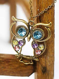 Antique Bronze Owl Pendant Necklace - only $3.89