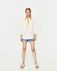 ZARA - FEMME - TOP STYLE TUNIQUE BRODÉ Embroidered Tunic, Zara Women, Tunic Tops, Womens Fashion, Style, 1, Woman, Templates, Plunging Neckline