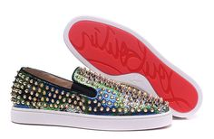 Christian Louboutin Roller-Boat Colorful Snakeskin Gold Spike Low Sneakers