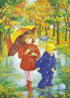 illustrations divers enfants 3 - Page 26 Umbrella Painting, Umbrella Art, Four Seasons Art, Rain Art, Love Rain, I Love Winter, Autumn Scenes, Autumn Activities, Illustrations