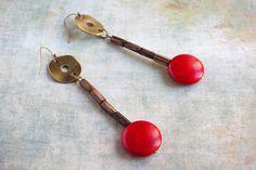 Primitive red long wood earrings ebony wood by chezviolette