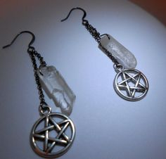 Quartz Earrings Pentacle Conjure Me Gunmetal and by SpellboundToo, $20.00 Free shipping on all US orders (convo me re: Alaska and Hawaii shipping), and for everyone- take 20% off your purchase of $20 or more with code 20FOR20