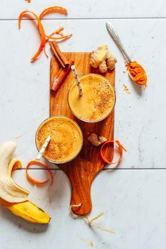 HEALTH BOOSTING Vegan Golden Milk Smoothie! 7 ingred, 5 minutes, SO tasty! #vegan #glutenfree #plantbased #smoothie #minimalistbaker