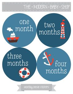 Monthly Onesie Stickers - Baby Boy, Nautical,  Baby Shower Gift, Grey, Blue, Red, Navy