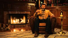 Nick Offerman Drinks Scotch Whisky in Front of a Cozy Fireplace for 45 Minutes of Silent, Uninterrupted Greatness