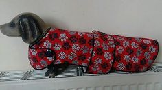 "New Handmade 16.5"" Red Pawprint Dachshund Coat, fleece lined, button detail."