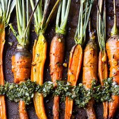 What a delicious fall recipe! These Maple Garlic Roasted Carrots are incredibly tender, bursting with flavour and are topped with a delectable Carrot Greens Chimichurri. They make a perfect side dish to any meal! Vegan Dinner Recipes, Vegan Dinners, Vegetarian Recipes, Healthy Recipes, Delicious Recipes, Mexican Recipes, Healthy Meals, Vegan Vegetarian, Yummy Food