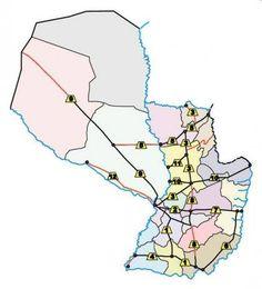 En este mapa vemos la escuálida red de carreteras asfaltadas de Paraguay. Algunas de las señaladas (en rojo) todavía están en proyecto. Ampliar datos en google: Indice del blog El Mundo de Pepe Hermano