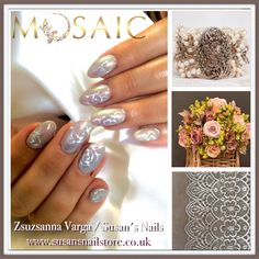 Michelle Horton for the wedding! Mermaid effect on with hand painted vintage white roses! Nails,products &training here . Mermaid Effect, Nail Effects, Diy Scrub, Trendy Nail Art, Nail Technician, Simple Nails, Nail Artist, Christmas Nails, Silver Glitter