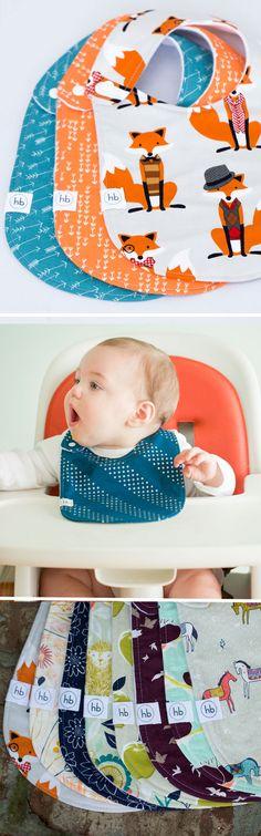 "Charlie Bib | Hemming Birds Boutique. Colorful, fun and machine washable! Made to be your ""go-to"" bib and adorable for outings. Gender neutral plus designs for girls and boys. Thoughtfully designed with no velcro and side snap. Makes a perfect baby gift!"