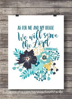 Printable art | As for Me and My House Bible verse print | Joshua 24:15, scripture print | Floral scripture wall art | Christian decor