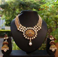 Designer Kundan, Polki & Pearl Necklace Set